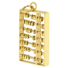 "Vintage Abacus Pendant Charm 18K Yellow Gold Reversible 1"" Length W/Bale Unisex"