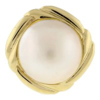 Vintage Mabe Pearl Dome Ring 14K Yellow Gold 14 mm Pearl Ladies Size 5