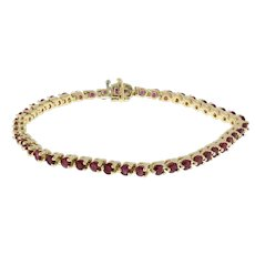 "Vintage Ruby Gemstone Tennis Bracelet 14K Yellow Gold 6.90 CTW 7"" Ladies Estate"