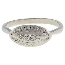 Antique Diamond Dress Ring 18K & 14K White Gold Ladies Estate 0.05 CTW Size 10