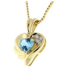 Estate Heart Shape Blue Topaz Gemstone Diamond Pendant 14K Yellow Gold Heart Gem