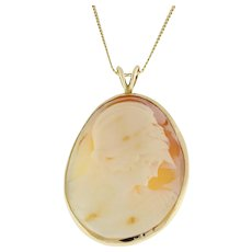 "Vintage Cameo Pendant 14K Yellow Gold Frame Large Size 2.25"" Estate Collection"