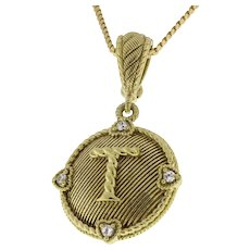 "Judith Ripka Initial ""T"" Enhancer Pendant Sterling Silver Gold Color CZ Accents"