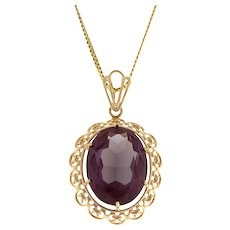 """Vintage Color Changing Oval Sapphire Pendant 19 x 14 mm Gem 14K Yellow Gold 1.5"""""""