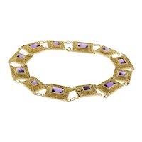 """Vintage Amethyst Filigree Line Link Bracelet 18K Yellow Gold 2.64 CTW Gems 7.75"""""""