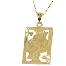 "Estate King of Hearts Engraved Pendant 14K Yellow Gold 3.6GR Large 1.35"" Unisex"