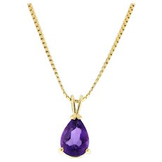 Vintage Pear Shaped Amethyst Pendant 14K Yellow Gold 10 x 7 mm Teardrop Gemstone