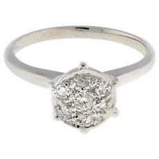 Estate Cluster Diamond Engagement Ring 14K White Gold 0.20 CTW Round Dia SZ 6.5