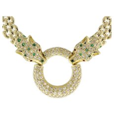 """Panther Diamond Emerald Pendant Necklace 14K Y/Gold 17"""" Panther Chain Estate"""