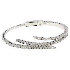 "Sonia B Diamond Cuff Bangle 14K White Gold 2.50 CTW Channel Set DIA 7"" Bracelet"