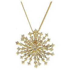 """Estate Diamond Starburst Pendant 14K Yellow Gold 2.00 CTW Round Dia 1.25"""" Ladies"""