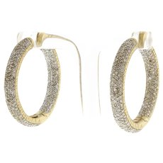 Estate In & Out Diamond Round Hoop Earrings 14K Yellow Gold 4.00 CTW Snap 1.25""