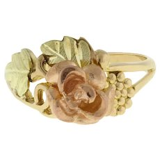Vintage Rose Floral Ring 10K Yellow Gold Rose Gold Motif Size 7.25 Ladies Girls
