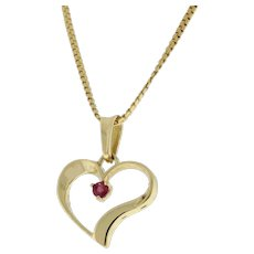 Vintage Open Heart Ruby Pendant 10K Yellow Gold 3mm Gemstone Ladies Estate 21mm