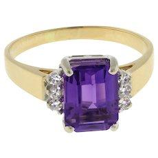 Vintage Amethyst Gemstone Diamond Cocktail Ring 14K Yellow Gold Ladies Size 7.75