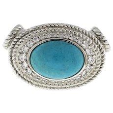 Judith Ripka Magnetic 925 Turquoise Diamonique Enhancer Sterling Silver Estate