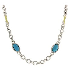 """Judith Ripka Turquoise 18K Sterling Cable Oval Link Chain Necklace 17"""" Estate"""