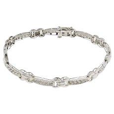 """Estate Diamond Station Bracelet 10K White Gold 1.00 CTW Round Diamonds Ladies 7"""""""