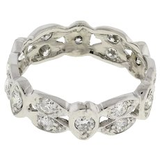 Vintage Platinum Diamond Full Eternity Wide Band Ring 0.90 CTW GH/SI Size 5.25