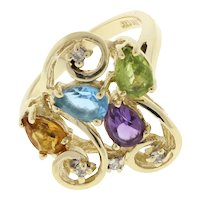 Vintage Swirl Gemstone Diamond Floral Statement Ring 10K Yellow Gold Size 6