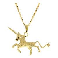 Estate Unicorn Pendant Charm 14K Yellow Gold 21 mm 3-D Ladies Girls