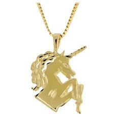 "Estate Unicorn Charm Pendant 14K Yellow Gold Diamond Cut 1"" Ladies Girls"