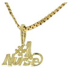 "Estate ""# 1 Nurse"" Charm Pendant 14K Yellow Gold 12 mm Unisex Vintage"