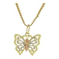 Vintage Butterfly Pendant Charm 14K Three-Tone Gold Filigree Ladies Girls 18 mm