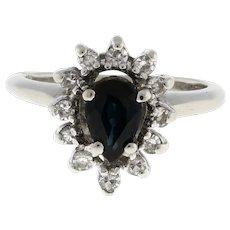 Estate Sapphire Diamond Halo Cocktail Ring 14K White Gold 0.85 CTW Pear SZ 2.25