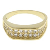Estate Two-Row Diamond Band Ring 14K Yellow Gold 0.65 CTW Rounds Ladies Size 6.5