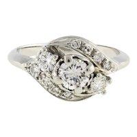 Estate 3-Stone Diamond Swirl Ring Diamond Accents 14K White Gold 0.83 TW Rou 5.5