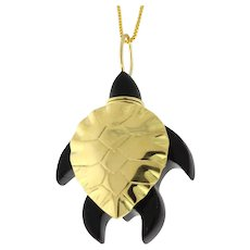 "Bernard Passman 18K Yellow Gold Black Coral Turtle Pendant Designer 1.25"""