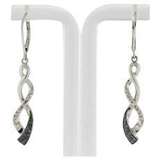 """Kay's Swirl Blue & White Diamond Drop Dangle Earrings Sterling Silver 1.25"""""""