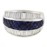 Estate Blue Sapphire Baguette Diamond 3-Row Dome Ring 18K White Gold Size 7