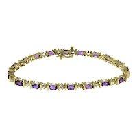 "Vintage Amethyst CZ Gemstone Tennis Line Bracelet 10K Yellow Gold 7"" Ladies"