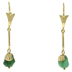 """Vintage Rough Turquoise Stone Drop Dangle Earrings 14K Yellow Gold 2"""" Ladies"""