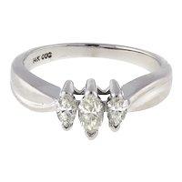 Estate Marquise Diamond 3-Stone Ring 14K White Gold 0.40 CTW Size 5.75