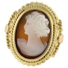 Vintage Cameo Filigree Ring 18K Yellow Gold Size 6.75 Lady Accent Oval Estate