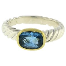 David Yurman Noblesse Blue Topaz Cable Ring 18K Yellow Gold Sterling Silver SZ 6