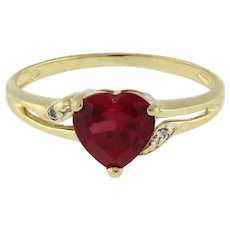 Vintage Ruby Heart Gemstone Ring 10K Yellow Gold CZ Accents Ladies Girls Size 6