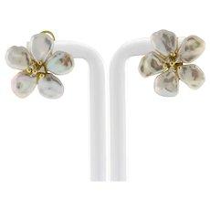 Vintage Baroque Pearl Diamond Floral Earrings 14K Yellow Gold Omega Backs Ladies