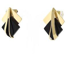 "Vintage Onyx Drop Earrings 14K Yellow Gold Square Geometric Design 1"" Ladies"