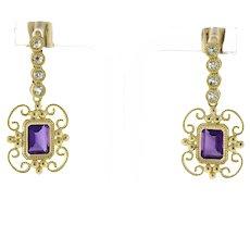 """Vintage Emerald Cut Amethyst Drop Dangle Earrings 14K Yellow Gold CZ Gems 1.25"""""""