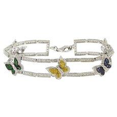 "Estate Butterfly Diamond Colored Topaz Gemstone Bracelet 14K White Gold 7"""
