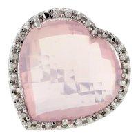 Estate Heart Shaped Rose Quartz Diamond Statement Ring 14K White Gold 0.25 CTW 6