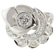 Estate Floral Diamond Statement Ring 14K White Gold 0.73 CTW Rounds Ladies SZ 5