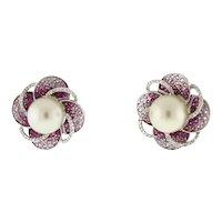 Estate Mabe Pearl Pink Topaz Diamond Flower Earrings 18K White Gold Omega Backs