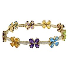 "Vintage Flower Gemstone Diamond Station Bracelet 18K Yellow Gold 8.12 CTW 7"""