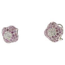 Estate Cluster Pink Topaz Diamond Flower Stud Earrings 18K White Gold Omega Back