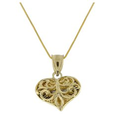 Vintage Filigree Heart Pendant Charm 14K Yellow Gold 22 mm Ladies